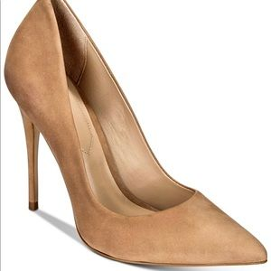 ALDO LIGHT BROWN SUEDE POINTED TOE PUMPS